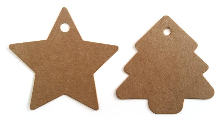 Kraft kerstboom tag en ster tag
