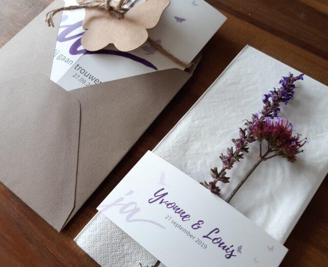 trouwkaart, servet wikkel, ontwerp op maat