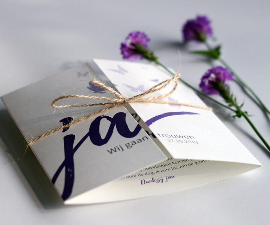 Drieluik, trouwkaart, ontwerp op maat, unieke trouwkaart